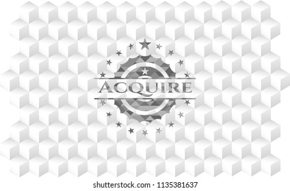 Acquire grey emblem with cube white background