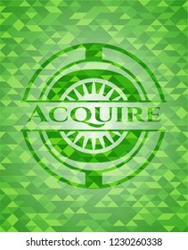 Acquire realistic green mosaic emblem