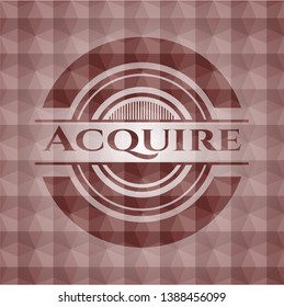 Acquire red emblem with geometric background. Seamless.