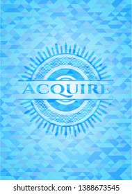 Acquire sky blue emblem. Mosaic background