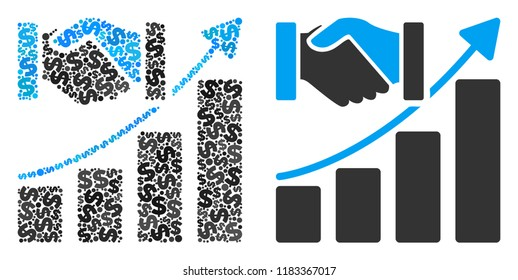 Acquisition growth collage of dollar symbols and small round circles. Vector dollar symbols are composed into acquisition growth collage.