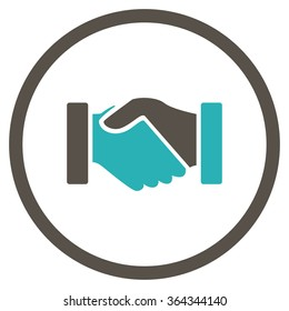 Acquisition handshake vector icon. Style is bicolor flat circled symbol, grey and cyan colors, rounded angles, white background.