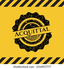 Acquittal black grunge emblem with yellow background. Vector Illustration. Detailed.