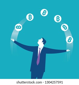 Acrobat. Businessman juggling with bitcoins icons. Concept business vector illustration - Vector