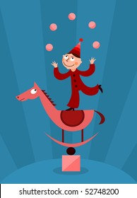 Acrobat juggling with balls - vector