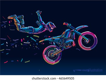 Acrobatic motorcycles jump show. Vector artwork in the style of paint strokes