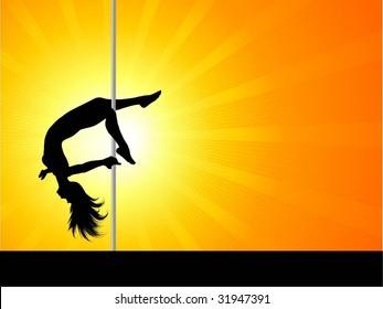 Acrobatic pole dancer