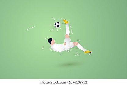 acrobatic shooting ball football player. soccer paper cut design style.