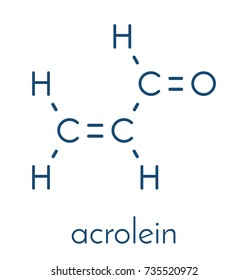 Acrolein (propenal) molecule. Toxic molecule that is formed when fat or oil is heated and is present in e.g. french fries. Skeletal formula.