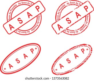 acronym ASAP red stamp isoalted collection in vector format