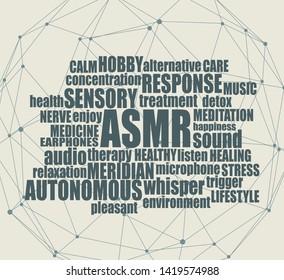 Acronym ASMR - Autonomous Sensory Meridian Response. Health care conceptual image. Connected lines with dots. Words cloud