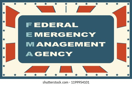 Acronym FEMA - Federal Emergency Management Agency. USA administrative concept illustration