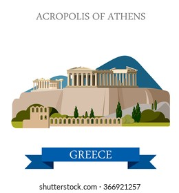 Acropolis of Athens ancient monument in Greece. Flat cartoon style historic sight showplace attraction web site vector illustration. World countries cities vacation travel sightseeing collection.
