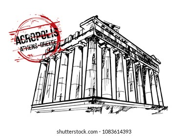 Acropolis. Athens, Greece city design. Hand drawn illustration.