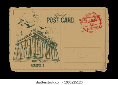 Acropolis. Athens, Greece. Post card design. Hand drawn illustration.