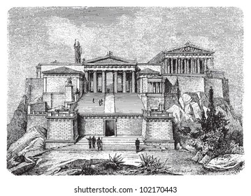 Acropolis in Athens (Greece) reconstruction / vintage illustration from Brockhaus Konversations-Lexikon 1908