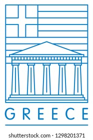 Acropolis, Athens, Greece, vector illustration and typography design