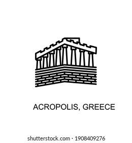 Acropolis, greece limestone hill,  athens landmark icon in vector. Logotype