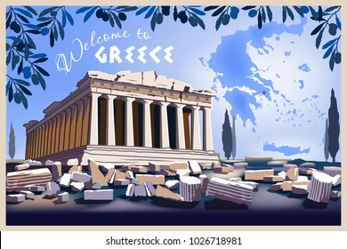 Acropolis Hill in Athens with map of Greece. Handmade drawing vector illustration.