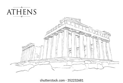 Acropolis Hill in Athens. Vector drawing, freehand vintage illustration