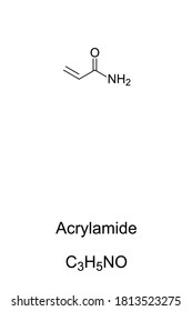 Acrylamide, acrylic amide, chemical structure. Highly toxic, and carcinogenic. Can be found in cigarette smoke in potato chips, French fries, coffee, peanuts and in some breads. Illustration. Vector.