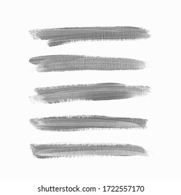 Acrylic art brush paint texture stripes set isolated vector background. Grey shadow underline stroke set.