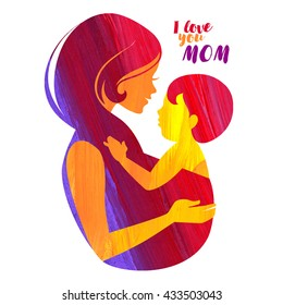 Acrylic beautiful mother silhouette with baby sling. Vector illustration
