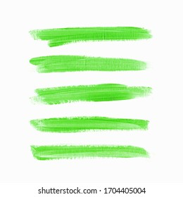 Acrylic brush painted textured stripes set isolated vector background. Watercolor underline stroke set.