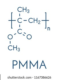 Acrylic glass or poly(methyl methacrylate), chemical structure. PMMA is the component of acrylic paint (latex) and acrylic glass. Skeletal formula.