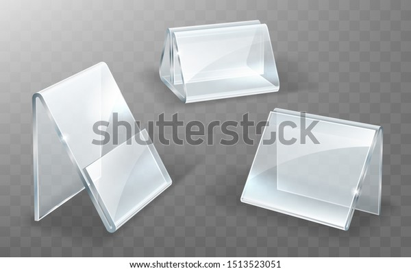Acrylic Nameplate Glass Plastic Display Stand Stock Vector