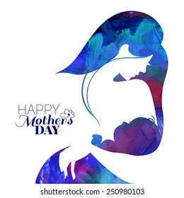 Acrylic painting mother silhouette with her baby. Card of Happy Mothers Day. Vector illustration with beautiful woman and child