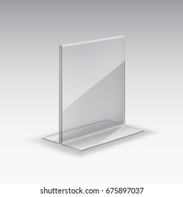 Acrylic or plexiglass table card holder isolated on grey background. Vector empty glass, plexi stand display. Clear plastic tag mockup, photo frame or restaurant menu template.