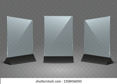 Acrylic table display stand. Office plastic table signs. Empty transparent glass card holder for flyers a4 size. Use for restaurant menu, poster, photo, advertising. Vector mock up.