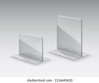 Acrylic table tent, card holder isolated on gray background. Vector empty glass stand display. Clear plastic, plexi or plexiglass price tag or restaurant menu mockup.