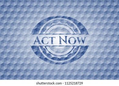 Act Now blue polygonal emblem.
