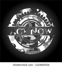 Act Now grey camouflaged emblem