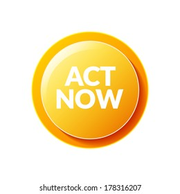 Act Now icon. Action circle button, round, act now offer text.