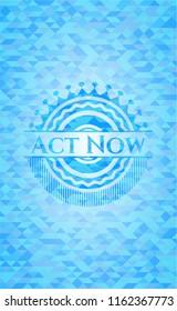 Act Now sky blue mosaic emblem