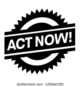 act now stamp on white background. Sign, label, sticker.