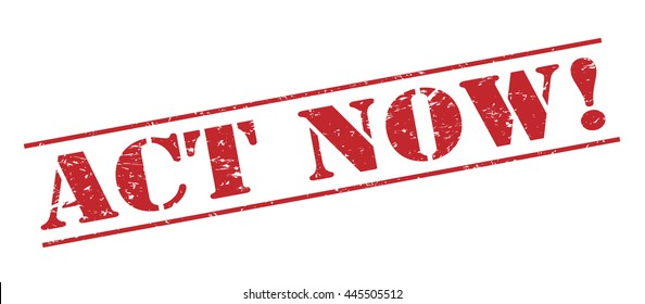 act now! vector stamp on white background