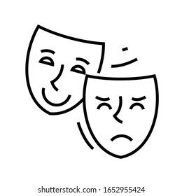 Acting mask line icon, concept sign, outline vector illustration, linear symbol.