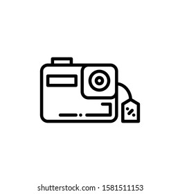Action Camera Icon Outline Vector. Holiday Sale Icons. Online Shop Ikon.
