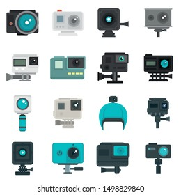 Action camera icons set. Flat set of action camera vector icons for web design