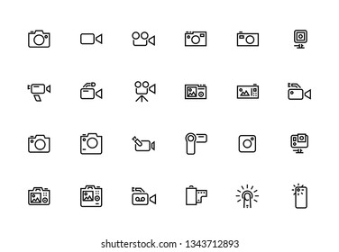 Action Camera, Journalistic, Portable, Video Camera Editable Stroke Line Icons. Premium Quality Pictogram.