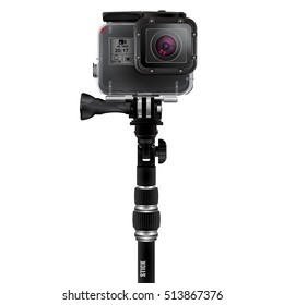 Action camera on a selfie stick. Realistic vector image isolated on white background