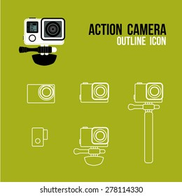 action camera outline icon, vector