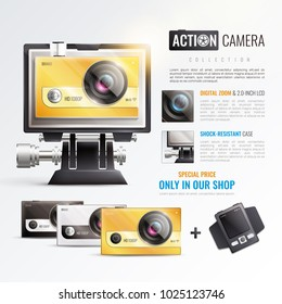 Action camera poster with digital zoom symbols realistic vector illustration