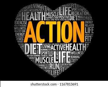 ACTION heart word cloud, fitness, sport, health concept