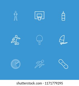Action icon. collection of 9 action outline icons such as boxing bag, basketball basket, snow board, windsurfing, football player. editable action icons for web and mobile.