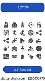 action icon set. 25 filled action icons. Simple modern icons about  - Superhero, Slide, Wingsuit, Sync, Run, Running, Radar, Share, Snowboard, Play, Punching bag, Flyboard, Swipe right